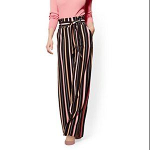 NY&CO STRIPED PAPERBAG-WAIST PALAZZO PANT